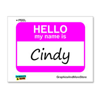 Cindy Hello My Name Is Sticker