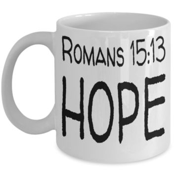 Inspirational Bible Verse Catholic Mugs Coffee Mug Art Christianity Coffee Cup Religious Art Print Artsy Jesus Christ Decorative Pencil Holder White Ceramic 11 oz pba Free Dishwaher Safe Easter 2017 2018 Romans 15:13 Hope Mugs