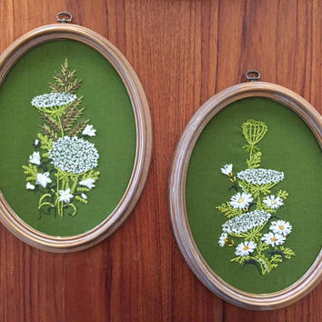 Vintage Mid Century Needlepoint Floral Wall Decor / Lime Olive Green with White Floral / Oval Frames, Original / Boho Modern Transitional