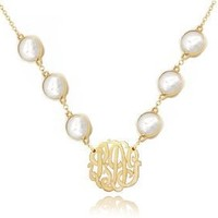 """Pearl Initials Pendant 1""""(order Any Initials) - Sterling Silver w/Gold Overlay"""