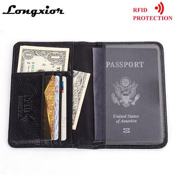 MRF6 RFID Blocking Passport Cover for Men Genuine Cow Leather Credit Cards Wallet RFID Protection Business Card Holder Wallets