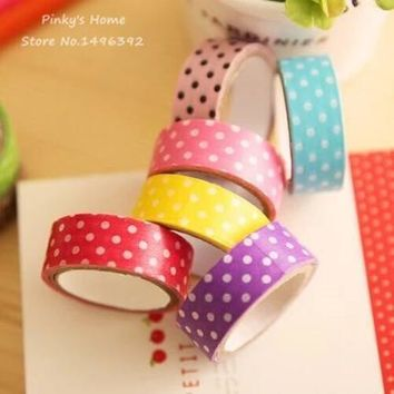 5PCS Candy Color Polka Dots Masking Tape Washi Packing Adhesive Tape Stationery Decorative Scotch Sticker Decorative Paper Tape