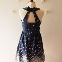 In the Wonderland Navy Vintage Sundress Cut Off Back Backless Dress Cute Sweet Sexy Summer Dress Tea Party Dress
