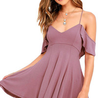 Off Shoulder Mini Sweet Sexy black blue Purple Backless Skater Dress