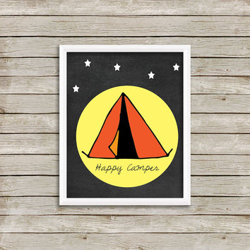 Happy Camper Wall Art, Print 8 x 10 INSTANT Digital Download Printable