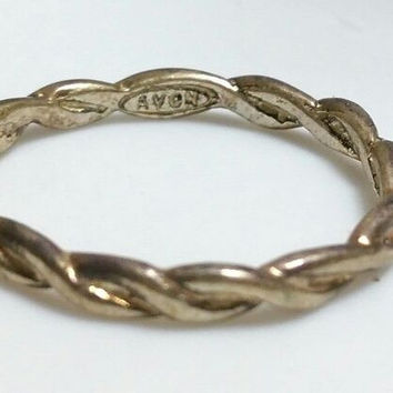 Sterling Silver AVON 2mm Twisted STACKING Band Ring SZ 6 925 CELTIC STACK FR SHP