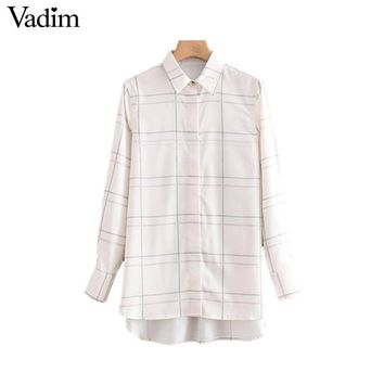 c15333d4bb7c02 Vadim women chic plaid long blouse side split long sleeve turn d