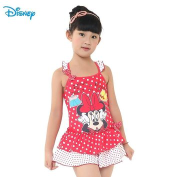 Disney Mickey Children Girl Swimming One-Piece Suits Red Swim Dress Dot Kid Swimming Clothes DEG32436-B