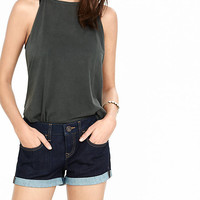 2 1/2 Inch Low Rise Rolled Denim Shorts from EXPRESS