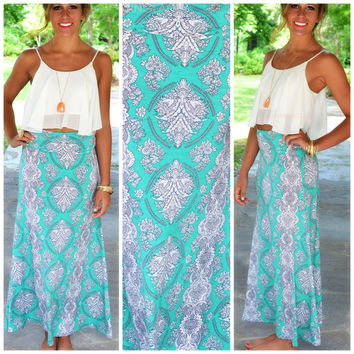 Wallflower Mint Floral Print Maxi Skirt