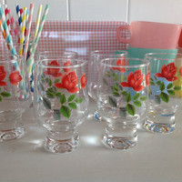 JAJ Pyrex June Rose matching Drinking Glasses
