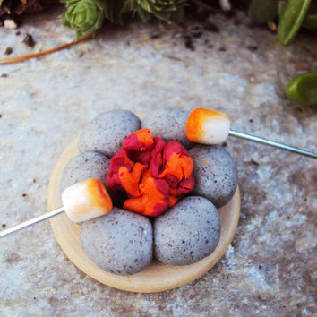 Miniature Fire Pit Campsite for Fairy Garden, Fairy Garden Kit, Miniature Campsite, Fairy Food, Toasting Stick, Fairy Miniatures, Outdoor