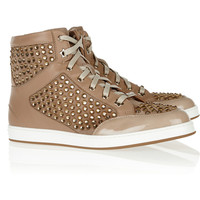 Jimmy Choo|Tokyo crystal-embellished suede, leather and patent sneakers |NET-A-PORTER.COM