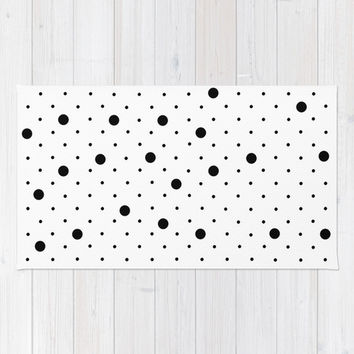Pin Points Polka Dot Black and White Area & Throw Rug by Project M | Society6