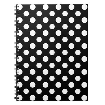 Black and White Polka Dot Pattern Spiral Notebook
