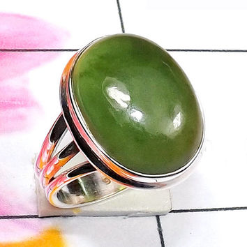 Serpentine Ring, Sterling Silver Ring, Natural Stone Jewelry, Green Ring, Cabochon Ring, Wedding Gift Ring, Bezel Set Ring, Statement Ring