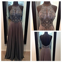 Halter Prom Dresses with Crystals