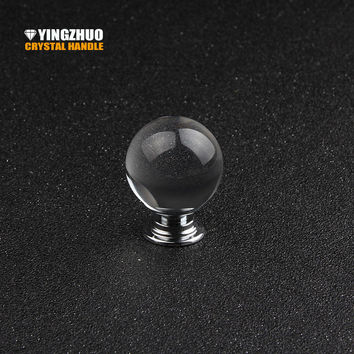 Door Handles Home Shoe Cabinet Wardrobe Cupboard Closet Transparent Ball Crystal Glass Alloy Round Drawer Pulls Knobs Furniture