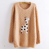 Pink Super Adorable Cartoon Giraffe Loose Pullover Sweater