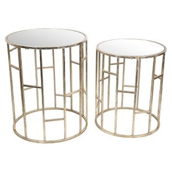 Set of 2 Modern Round Mirror Top Accent Tables - Gold
