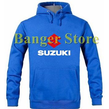 SUZUKI motor logo pullover hoodie sweatshirt cotton overalls jacket for women and men
