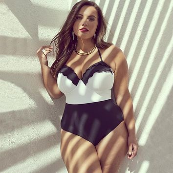 One Piece Bathing Suit 2018 Sexy Plus Size Swimwear Women  Swimsuit Push Up Monokini Large Size Bathing Suit Summer Beachwear Ruffle Swim Suit KO_9_1