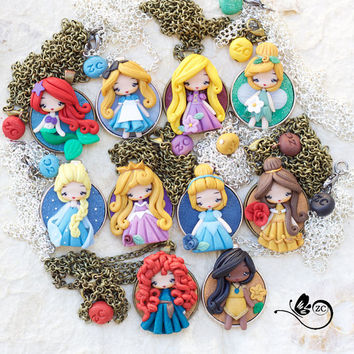 polymer clay necklace / disney / princess / clay / disney princess / belle
