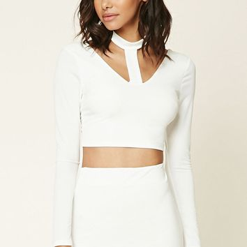 Stretch-Knit Cutout Crop Top