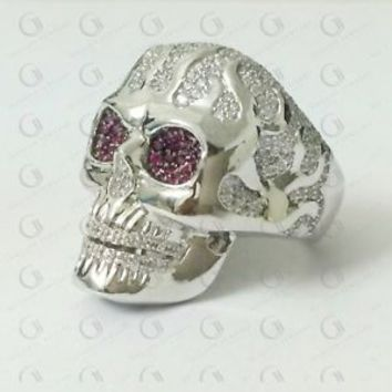 2.66 Ct Gothic Large Skull Mens Biker Hip Hop Ring In Solid 10K White Gold