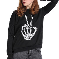 "ROMWE Skeleton ""Peace"" Symbol Print Long-sleeved Black Sweatshirt"