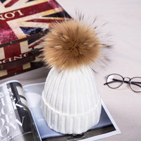 High quality mink fur ball hats Pom poms winter hat for women wool hat knitted cotton beanies cap brand new thick bonnet femme