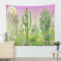 Moon and Cactus Tapestry