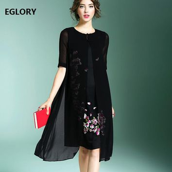 XXL Fashion New Brand Chinese Style Summer Dress 2017 Women Floral Embroidery Half Sleeve Solid White Black Elegant Silk Dress