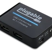 Plugable USB 2.0 4-Port High Speed Charging Hub with 12.5W Power Adapter and BC 1.1 Charging Support for for Android, Apple iOS, and Windows Mobile Devices