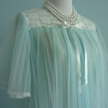 1960's Blue Sheer Pleated Negligee by Gaymode in size M/L
