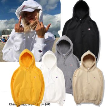 Simple small LOGO embroidery men and women plus velvet hood hooded sweater jacket