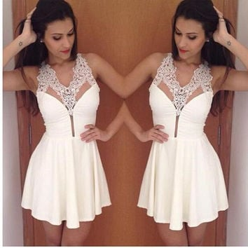 Lace Strap Flounce Mini Dress