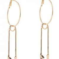 Alloy Pin Circle Hoop Drop Earrings