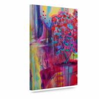 """Cecibd """"Girl With Plants III"""" Abstract Painting Canvas Art"""