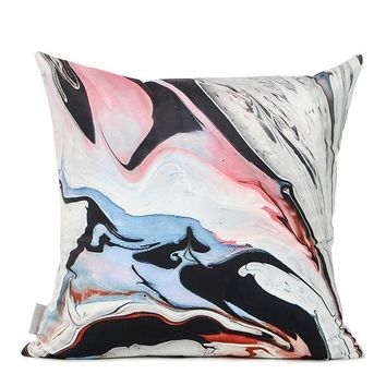 "Red Black Abstract Oil Painting Digital Printing Flannel Pillow 18""X18"""
