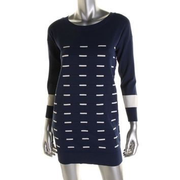 Timo Weiland Womens Broken Stripe 3/4 Sleeves Sweaterdress