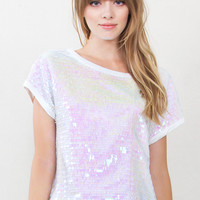 Iridescent Party Sequin Top-M