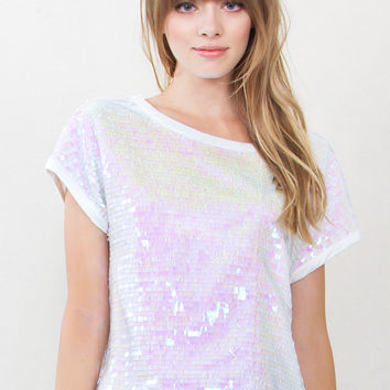 Iridescent Party Sequin Top