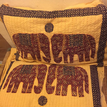 SALE - Elephant Sham Pillow Cases - quilted elephants - golden yellow - navy - maroon - elephant bedding - hand-embroidered - boho African