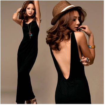 British Style Backless Simple Maxi Dress