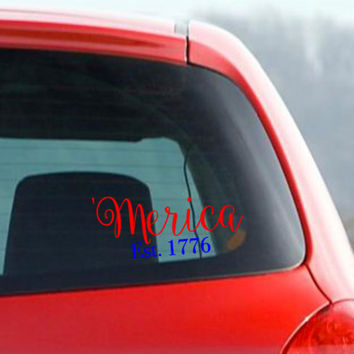 FREE SHIPPING! - 'Merica Est. 1776 decal - Patriotic Two Color Decal | Multiple Sizes