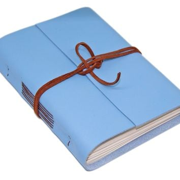 Leather Journal with Blank Paper, Light Blue Notebook, Diary, Gift, Christian journal, Handmade Leather
