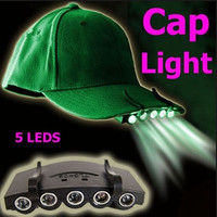 Clip-On 5 LED Fishing Camping Head Light HeadLamp Cap with 2* CR2032 cell Batteries Included  Headlight H1275 = 1645781572