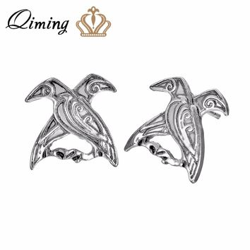 QIMING Valknut Bird Earrings Antique Animal Pagan Odin's Ravens Viking Mythology Jewelry Women Norse Design Stud Men Earrings