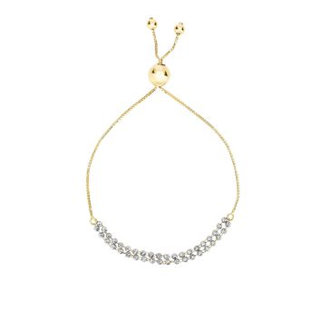 14K Yellow-White Gold Diamond Cut Double Beaded Strand Bracelet with Draw String Clasp